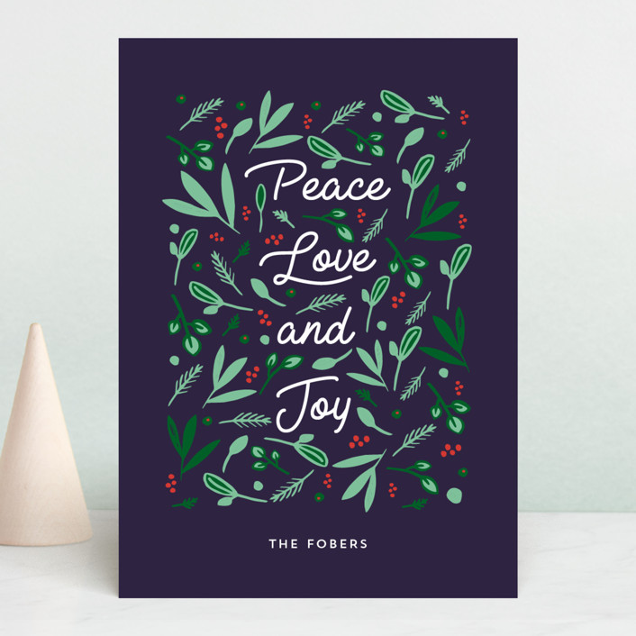 """Peace Love Joy Triple"" - Holiday Cards in Midnight by Erika Firm."