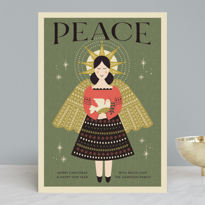 """""""Peace Angel"""" - Vintage Holiday Cards in Sage by Coco and Ellie."""