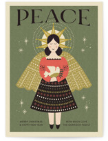 This is a green non photo holiday card by Coco and Ellie called Peace Angel with standard printing on signature in standard.