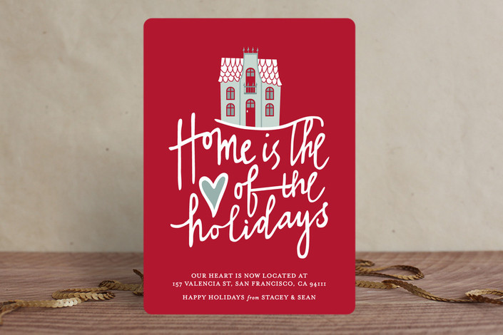 """""""Home is the Heart"""" - Bold typographic, Hand Drawn Holiday Cards in Berry by Stacey Hill."""