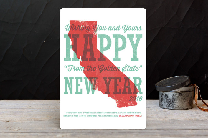 """Great State Greetings"" - Cities & States, Modern Holiday Cards in Seafoam by Pistols."