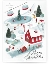 This is a red non photo holiday card by Grae called North Pole Resort with standard printing on signature in standard.