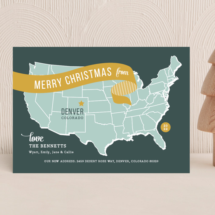 """""""Holiday Map"""" - Vintage Holiday Cards in Mustard by Jill Means."""