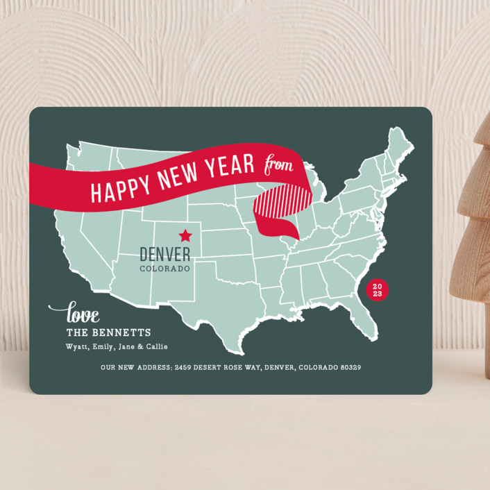 """Holiday Map"" - Cities & States, Modern Holiday Cards in Cherry by Jill Means."