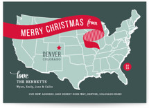 This is a red non photo holiday card by Jill Means called Holiday Map with standard printing on signature in standard.