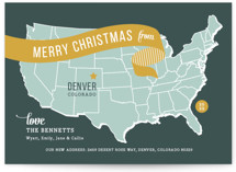 This is a yellow non photo holiday card by Jill Means called Holiday Map with standard printing on signature in standard.