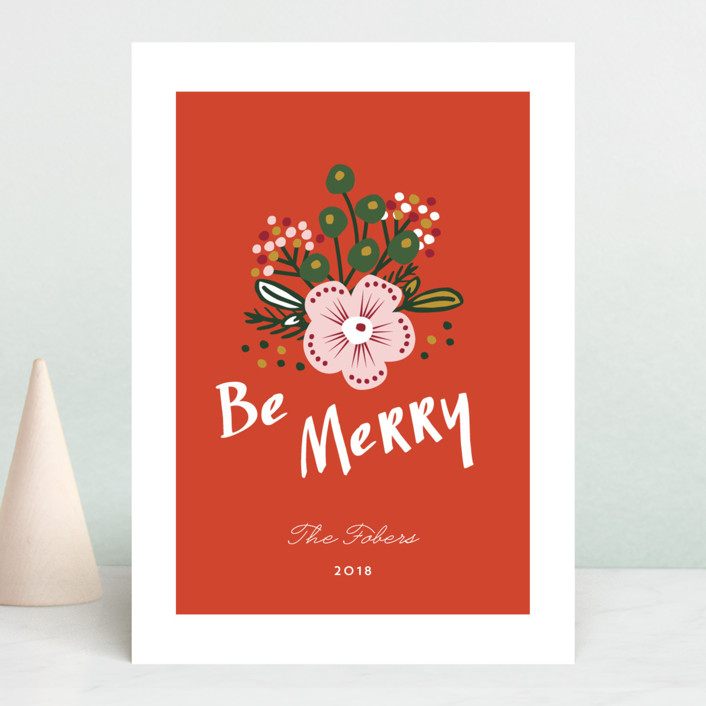 """""""Be Merry Bouquet"""" - Holiday Cards in Berry by Erika Firm."""