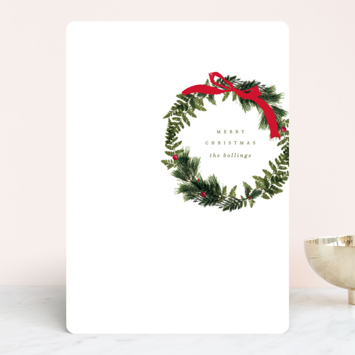 """Simple Wreath"" - Holiday Cards in Wreath by Baumbirdy."
