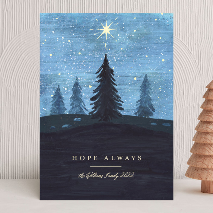 """""""Hope Shines"""" - Bohemian Holiday Cards in Night Sky by Rebecca Daublin."""