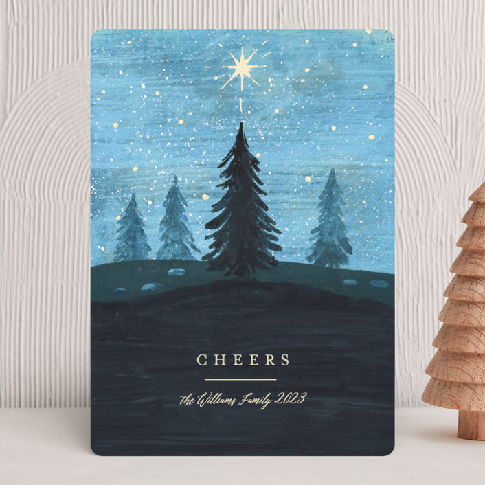 """""""Hope Shines"""" - Bohemian Holiday Cards in Blue Spruce by Rebecca Daublin."""