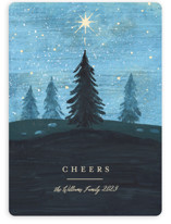 This is a blue non photo holiday card by Rebecca Daublin called Hope Shines with standard printing on signature in standard.