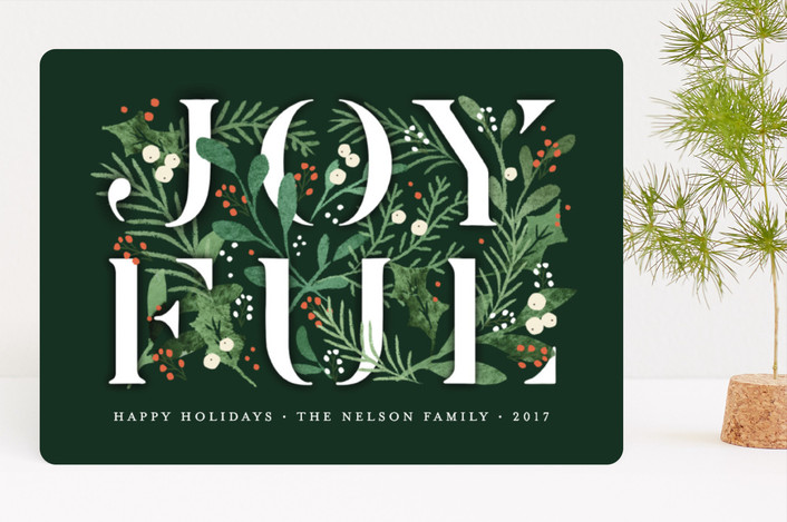 """Pine-filled with Joy"" - Holiday Cards in Winter Green by Jennifer Wick."