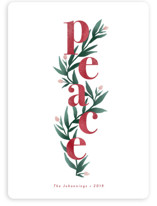 This is a red non photo holiday card by Mayflower Press called Peace Florals with standard printing on signature in standard.