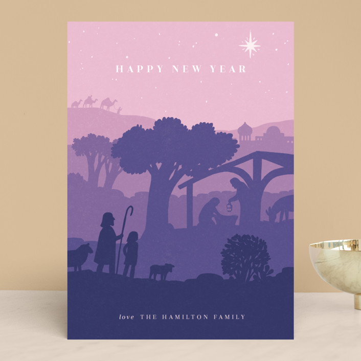 """Emmanuel"" - Vintage Holiday Cards in Dawn by Rebecca Daublin."