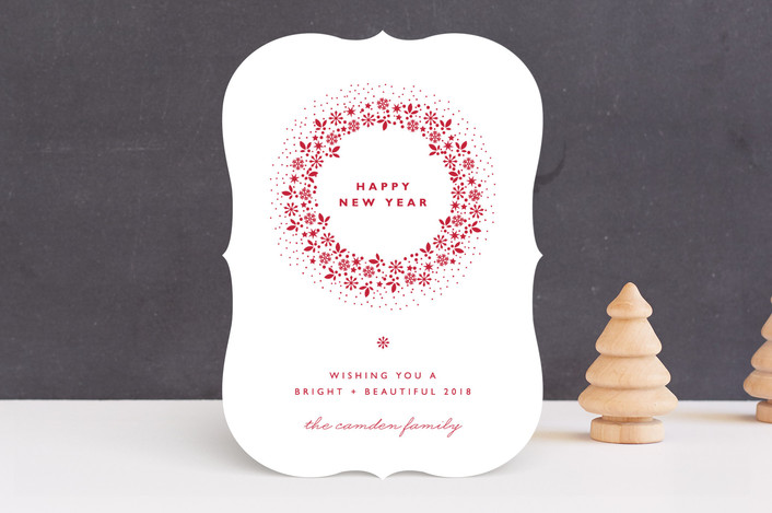 """""""Red Wreath"""" - Elegant, Floral & Botanical Holiday Cards in Snow by Coco and Ellie Design."""