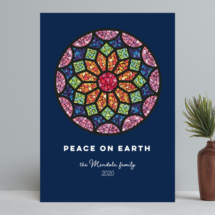 """""""Rosette"""" - Bohemian Holiday Cards in Navy by peetie design."""