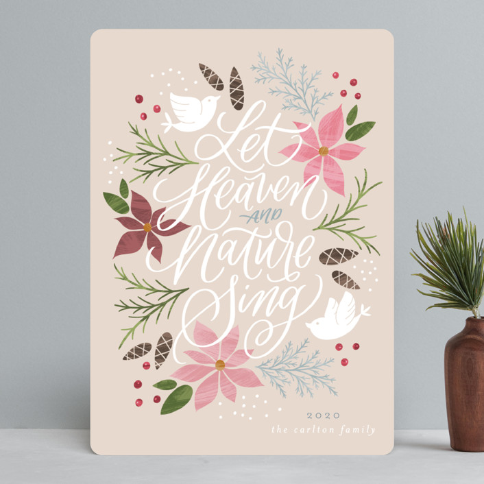 """""""Let Heaven and Nature Sing"""" - Holiday Cards in Vanilla by Erin German Design."""