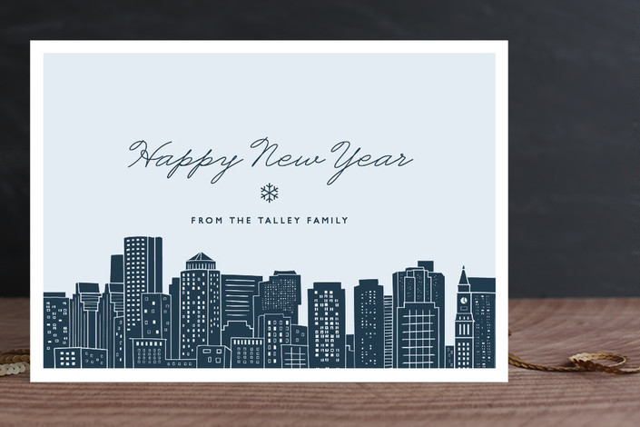 """Big City - Boston"" - Cities & States, Modern Holiday Cards in Pale Blue by Hooray Creative."