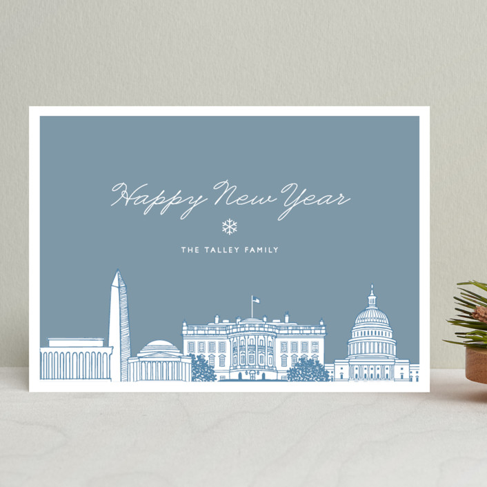 """""""Big City - Washington DC"""" - Vintage Holiday Cards in Blue Forest by Hooray Creative."""