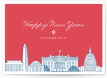 This is a red non photo holiday card by Hooray Creative called Big City - Washington DC with standard printing on signature in standard.