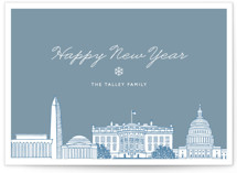 This is a blue non photo holiday card by Hooray Creative called Big City - Washington DC with standard printing on signature in standard.