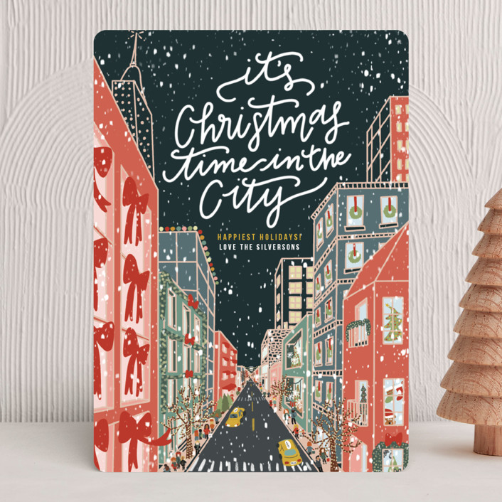 """""""Christmas in the City"""" - Bohemian, Vintage Holiday Cards in Midnight by Lauren Jinhee."""