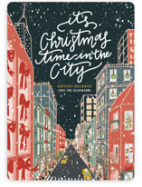 This is a green non photo holiday card by Lauren Jinhee called Christmas in the City with standard printing on signature in standard.