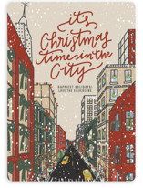 This is a beige non photo holiday card by Lauren Jinhee called Christmas in the City with standard printing on signature in standard.