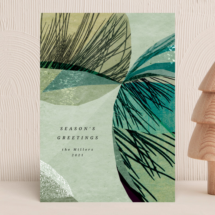 """""""hearth"""" - Modern Holiday Cards in Celadon by Sumak Studio."""