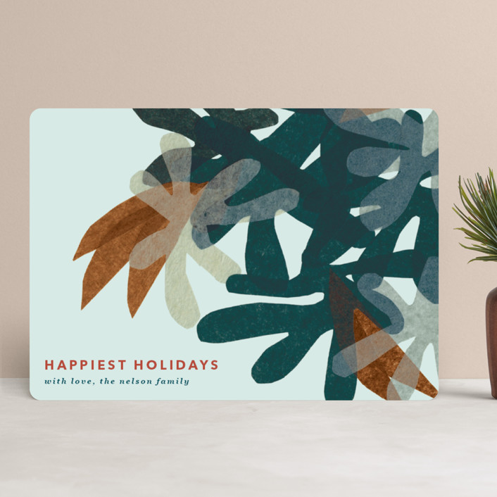 """""""Mod Floral"""" - Modern Holiday Cards in Chestnut by Carrie Moradi."""