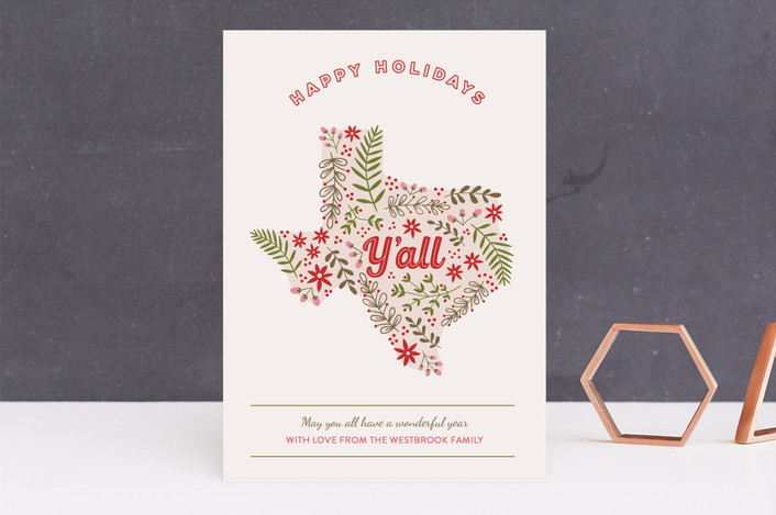 """Happy Holidays Yall"" - Funny Holiday Cards in Peony by Hanna Mac."