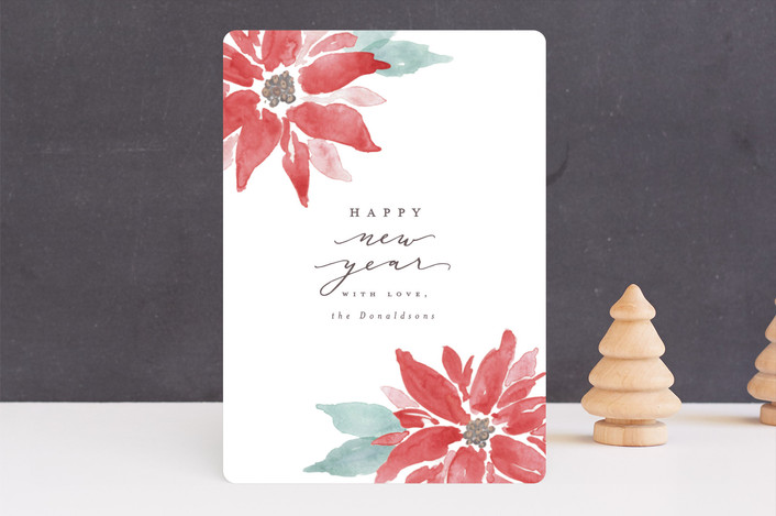 """Painted Poinsettias"" - Bohemian Holiday Cards in Poinsettia by Everett Paper Goods."