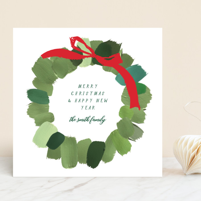 """Painted Wreath"" - Holiday Cards in Snow by Baumbirdy."