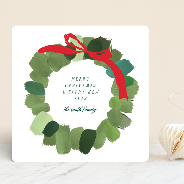 """""""Painted Wreath"""" - Holiday Cards in Snow by Baumbirdy."""