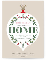 This is a beige non photo holiday card by Oma N. Ramkhelawan called Ornament Home with standard printing on signature in standard.