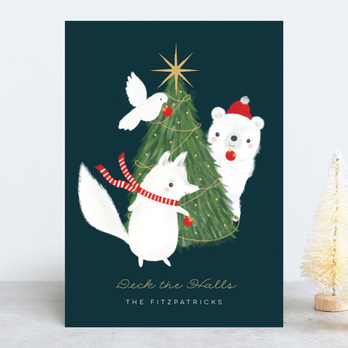 """""""Deck the Halls"""" - Bohemian Holiday Cards in Navy by Itsy Belle Studio."""