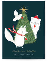 This is a blue non photo holiday card by Itsy Belle Studio called Deck the Halls with standard printing on signature in standard.
