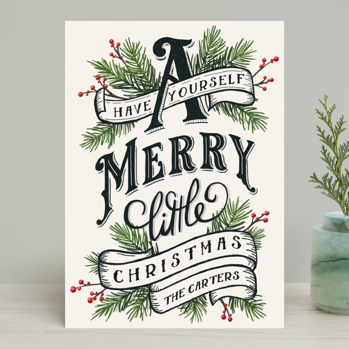"""A Merry Little Christmas"" - Vintage Holiday Cards in Evergreen by GeekInk Design."