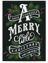 This is a green non photo holiday card by GeekInk Design called A Merry Little Christmas with standard printing on signature in standard.