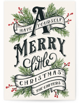This is a yellow non photo holiday card by GeekInk Design called A Merry Little Christmas with standard printing on signature in standard.