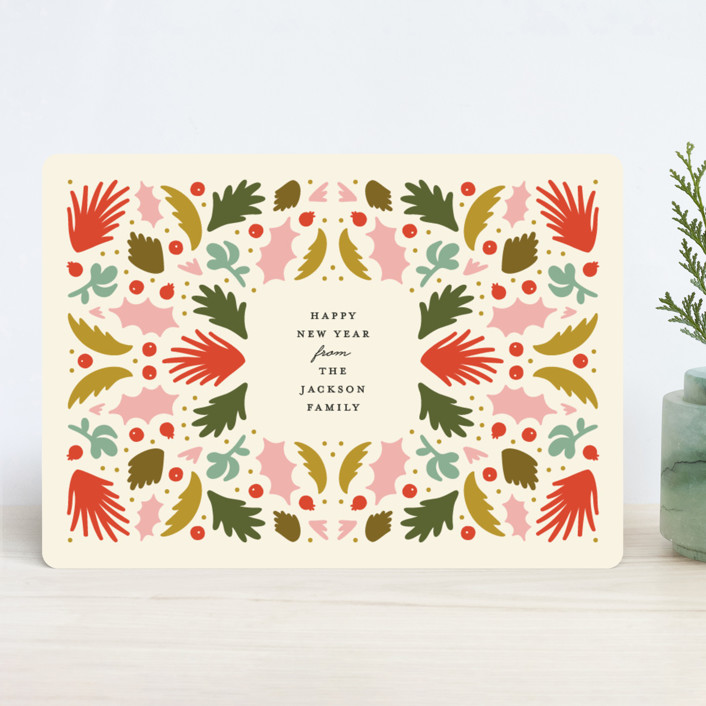 """""""Folk Pattern"""" - Holiday Cards in Cream by Genna Cowsert."""