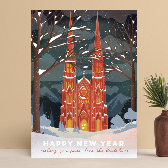 """""""Winter Cathedral"""" - Vintage Holiday Cards in Cardinal by Becky Nimoy."""