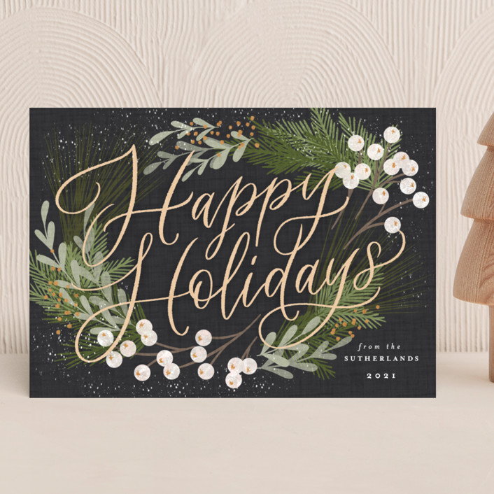 """""""Botanical Holidays"""" - Holiday Cards in Charcoal by Erin German."""