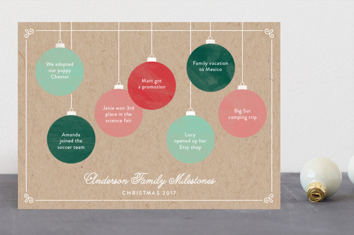 """Milestone Ornaments"" - Holiday Cards in Candy by Becca Thongkham."