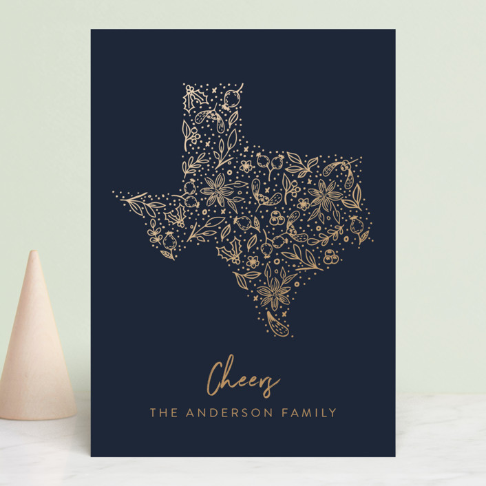 """Texas gold"" - Holiday Cards in Midnight by My Splendid Summer."