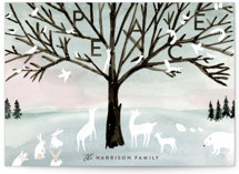 This is a blue non photo holiday card by Eve Schultz called Winter Peace with standard printing on signature in standard.