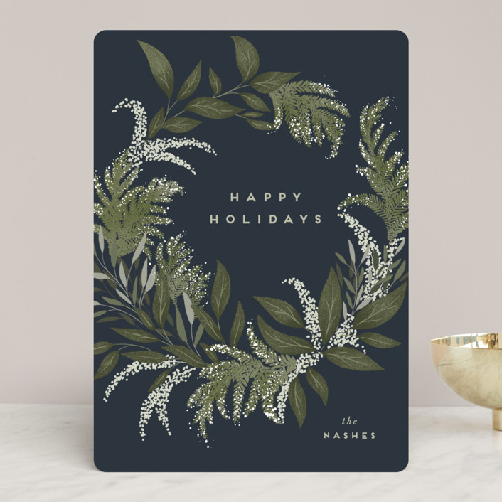 """Festive Greenery"" - Holiday Cards in Blueberry by Leah Bisch."