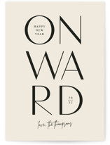 This is a beige non photo holiday card by Jessica Corliss called Onward with standard printing on signature in standard.