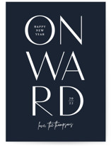 This is a blue non photo holiday card by Jessica Corliss called Onward with standard printing on signature in standard.