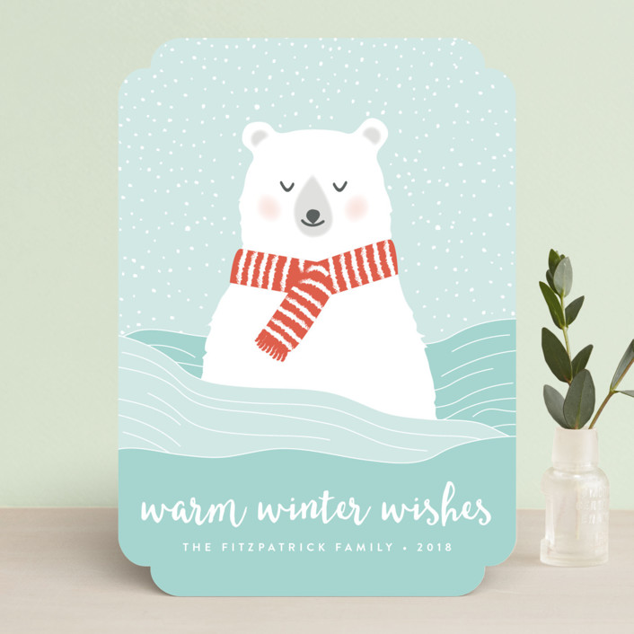 """Warm Winter Wishes"" - Holiday Cards in Frosty by Kampai Designs."